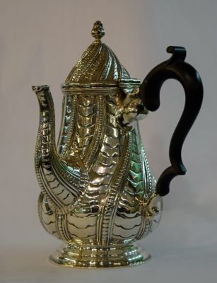 Victorian English Silver Chocolate Pot  George Nathan   Ridley Hayes  Chester  1904