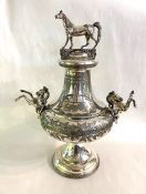 Victorian Figural Silver Plate Horse Sleigh Trophy