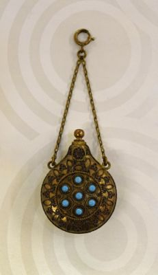 Victorian Gilt with Turquoise Stones Scent Bottle
