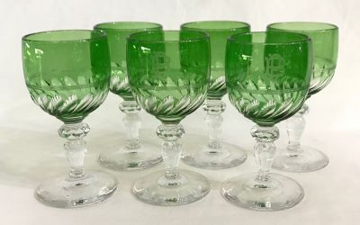 Victorian Hand Blown   Cut Wine Glasses