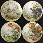 Victorian Hand Painted Cabinet Plates of Wild Flowers & Butterflies