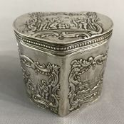 Dutch Victorian Era Heart Shape Sterling Silver Tea Caddy