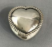 Victorian Heart Shape Sterling Silver Hinged Dresser Box
