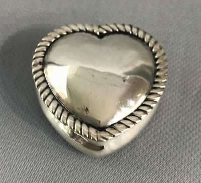 Victorian Heart Shape Sterling Silver Hinged Dresser Box d