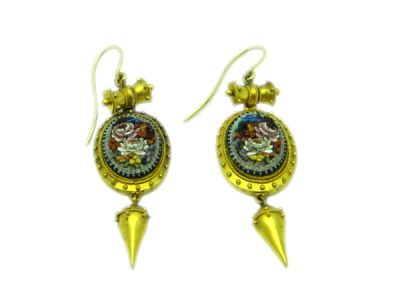 Micro Mosaic Earrings Victorian
