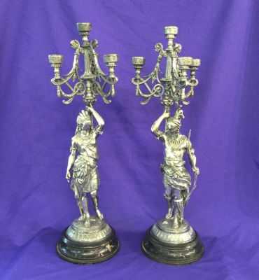 Victorian Pair of Silver Plate North American Indian Figural Candelabra - 1