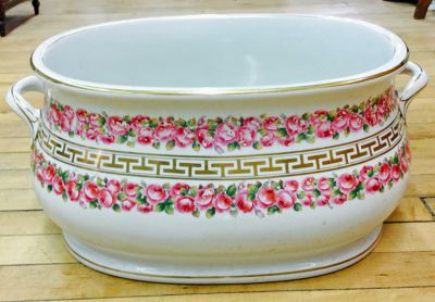 Victorian Rose and Classical Gilded Band Transfer Decorated English White Ironstone Foot-Bath  Minton  C