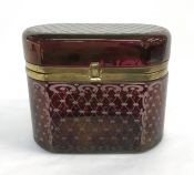 Victorian Ruby Flash Comfit Box with Gilt Metal Frame