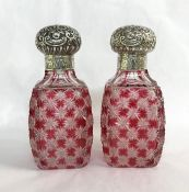 Victorian Scent Bottles with Sterling Silver Tops, circa 1890