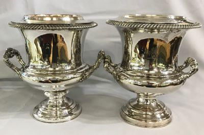 Victorian Sheffield Plate Assembled Pair of Champagne Coolers 3