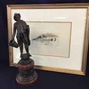 Victorian Spelter Figure of a Fisherman & Vintage Etching of a Fishing Lure
