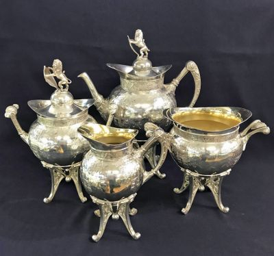 Victorian Silver Plate 4 Piece Tea Set 7