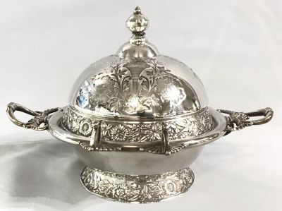 Victorian Silver Plate Butter Dish 2