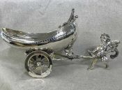 Victorian Silver Plate Centrepiece of a Pixie Hauling a Two-Wheel Cart
