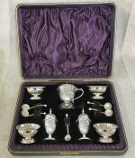 Victorian Silver Plate Condiment Set In The Original Presentation Box