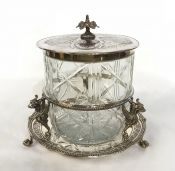 Victorian Silver Plate Cut Glass Biscuit Barrel