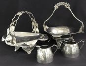 Victorian Silver Plate Hollowware Cake Baskets & Cream & Sugar