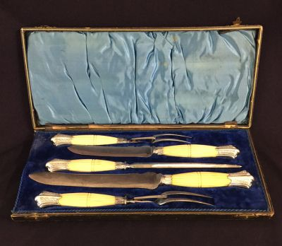 Victorian Silver Plate and Carved Ivory Handled 5 Piece Carving Set 3