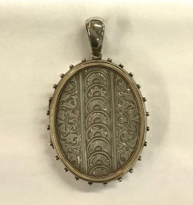 Victorian Sterling Silver Double Picture Oval Locket c