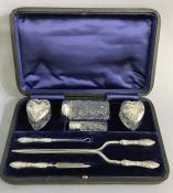 Victorian Sterling Silver Vanity Set In The Original Presentation Case
