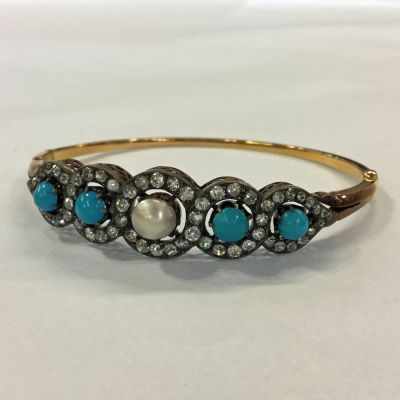 Victorian Turquoise Pearl and Diamond Bracelet