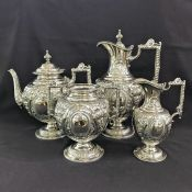 Victorian Silver Plate 4 Piece Tea Set