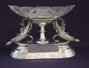 Victorian Silver Plate & Cut Crystal Centrepiece Bowl