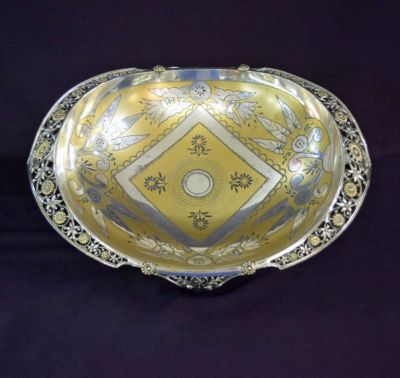 Victorian silver plate and partial gilt centrepiece bowl a