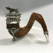 Victorian Silver Plated Rams Horn Snuff Mull