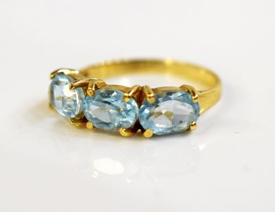 Vintage 3 Aquamarine Ring