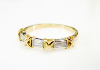Vintage 3 Diamond X Ring