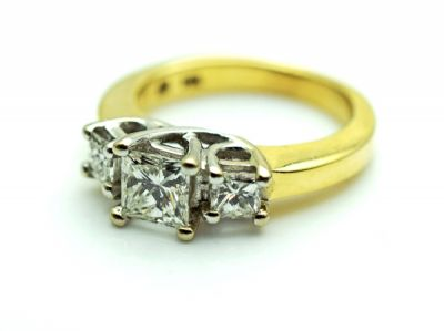 Vintage 3 Princess Diamond Ring