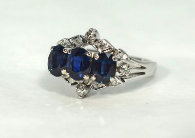 Vintage 3 Sapphire and Diamond Ring