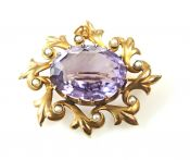 Vintage Amethyst and Pearl Brooch