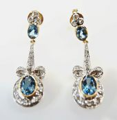 Vintage Aquamarine and Diamond Drop Earrings