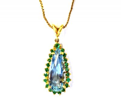 Vintage Aquamarine and Emerald Pendant with Chain