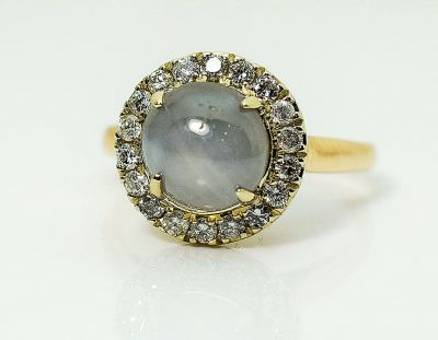 Vintage Blue Star Sapphire and Diamond Ring
