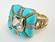 Vintage Blue Topaz Turquoise Diamond Ring