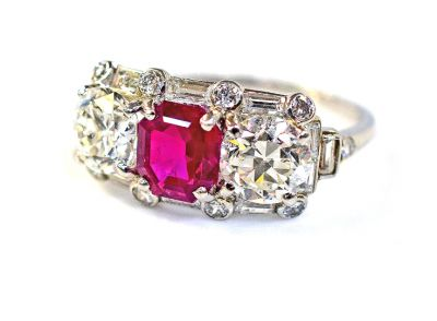 Vintage Burmese Ruby and Diamond Ring