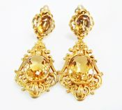 Vintage Citrine Cannetille Drop Earrings