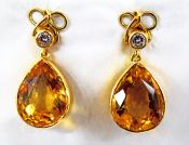 Vintage Citrine and Diamond Drop Earrings