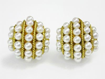 Vintage Cultured Pearl Clip on Earrings