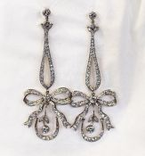 Vintage Diamond Bow Earrings