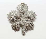 Vintage Diamond Maple Leaf Brooch