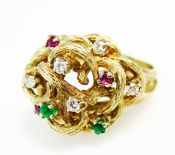 Vintage Diamond Ruby Emerald Organic Cluster Ring