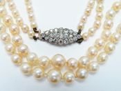 Vintage Double Strand Graduated Cultured Pearl Necklace