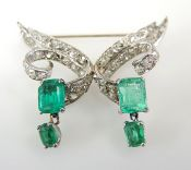 Vintage Emerald and Diamond Brooch