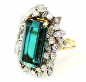 Vintage Green Chrome Tourmaline and Diamond Ring