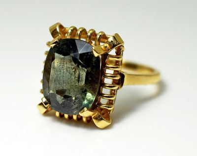 Vintage Green Tourmaline Solitaire Ring