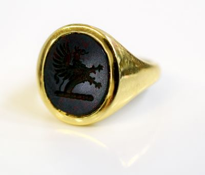Vintage Griffin Rampant Bloodstone Intaglio Ring